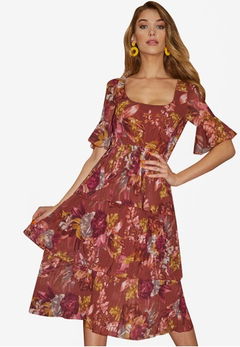 Little Mistress brown and multi Floral Tier Midi Dress A415BAAEA2E23DGS_1