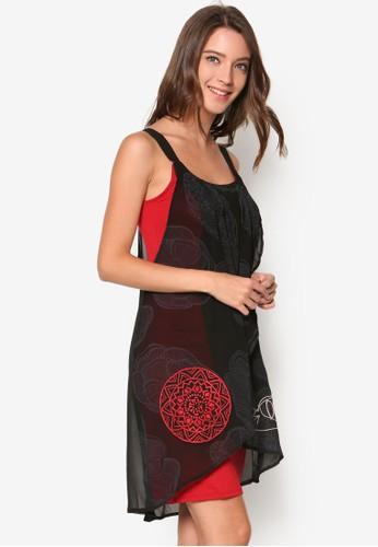 撞色裹飾連身裙, 韓系時尚, 梳esprit台北門市妝