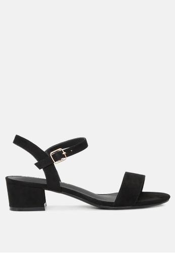 London Rag black Ankle Strap Low Heel Sandals 5415DSHCA768C0GS_1