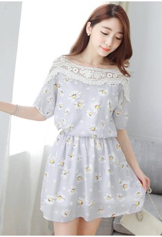 Common Daisy Chiffon Dress - Blue
