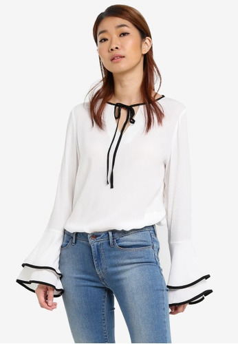 ZALORA white Contrast Fluted Sleeves Blouse 6E514AAAD8E827GS_1