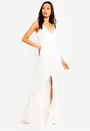 b2f652fc002 MISSGUIDED white Lace Strappy Front Split Maxi Dress DC736AAF852A83GS 1