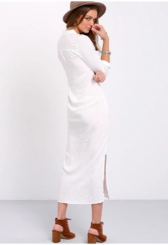 0941f73c423 55% OFF LOVENGIFTS LOVENGIFTS Linen Casual Split Beach Vacation Shirt Dress  (White) RM 218.00 NOW RM 99.00 Sizes L