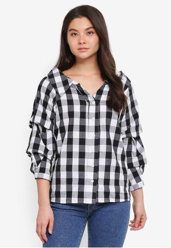 Haute Kelly black Sun-Hee Checkered Shirt 963E1AAA448D1DGS_1