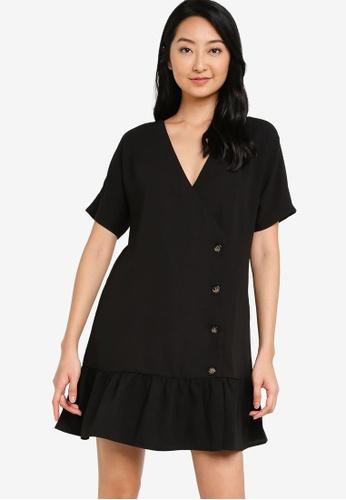 ZALORA BASICS black Button Detail Wrap Dress A2C78AAD2691BCGS_1