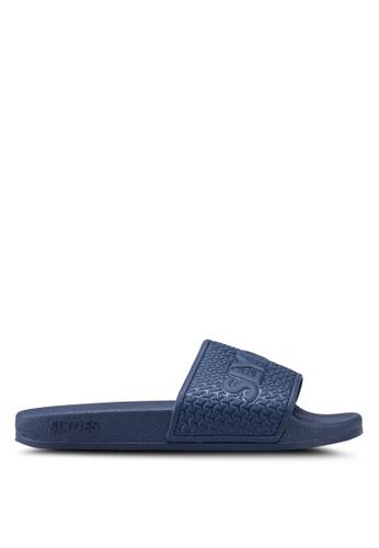 Slydes 海軍藍色 LOGO壓紋休閒拖鞋 7D4C6SH4060BFDGS_1
