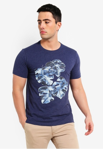 MANGO Man 藍色 印花品牌刺繡T恤 86082AA7546F6AGS_1