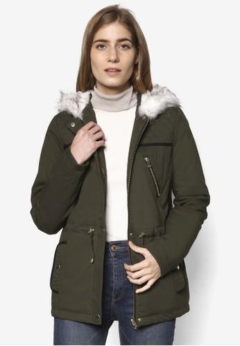 毛絨領絎縫風衣外套, 服esprit mongkok飾, 服飾