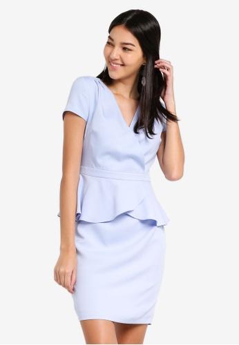 ZALORA blue Short Sleeves Wrap Peplum Dress BFFA1AA283FDFFGS_1