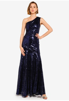 17e5efd002 Goddiva navy One Shoulder Sequin Sheath Maxi 4C8CDAAF7D25C8GS_1