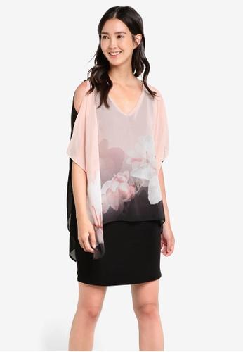 Wallis pink Pale Pink Soft Lily Print Overlay Dress WA800AA63DUQMY_1