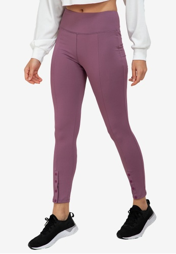 ZALORA ACTIVE purple Snap Button Hem Fitted Leggings E77A4AA05E1D22GS_1
