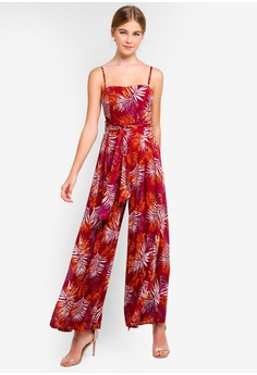 36f3621c5d45 INDIKAH red Botanical Print Jumpsuit With Waist Sash D3048AA7180278GS 1
