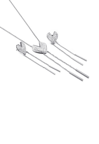 Glamorousky white Simple and Fashion Heart-shaped Tassel 316L Stainless Steel Necklace and Earrings Set with Cubic Zirconia 362CFAC8E5F1AFGS_1
