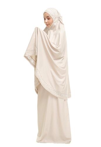 SITI KHADIJAH beige Siti Khadijah Telekung Modish Cadina in Khakis (Modern Fit) 4CA2BAA37D81D9GS_1