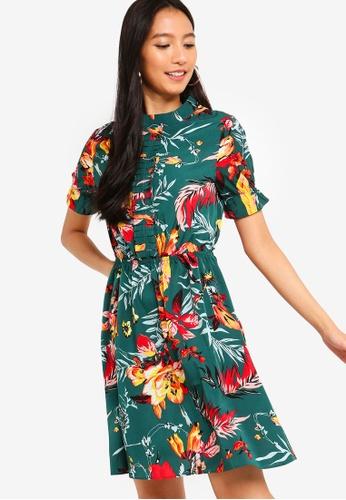 ZALORA green and multi Pleated Front Mini Dress 2D083AA9B72A9DGS_1