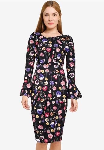 Little Mistress multi Black Floral Bodycon Dress 5EB92AABEA0DC7GS_1