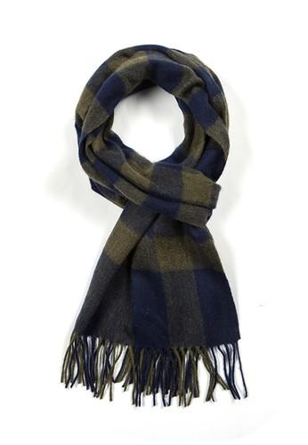 絲原百福圍巾 - 藏藍/軍綠, 飾品配件, zalora 台灣門市披肩