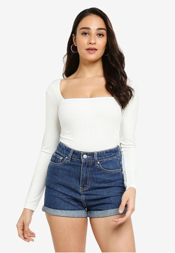 ZALORA BASICS 白色 Square Neck Knitted Rib Bodysuit BC8C5AAB73094EGS_1