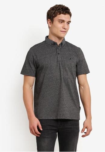 Burton Menswear London grey Charcoal Woven Collar Polo Shirt BU964AA0S2BIMY_1