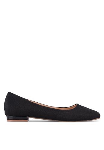 Spiffy black Square Toe Flats SP352SH57HBQMY_1