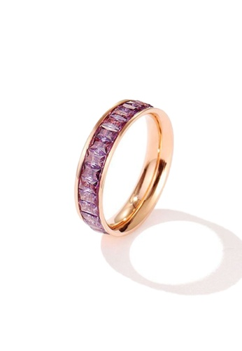 CELOVIS purple and gold CELOVIS - Georgia Purple Zirconia in Rose Gold Ring 58C99AC8C388D4GS_1