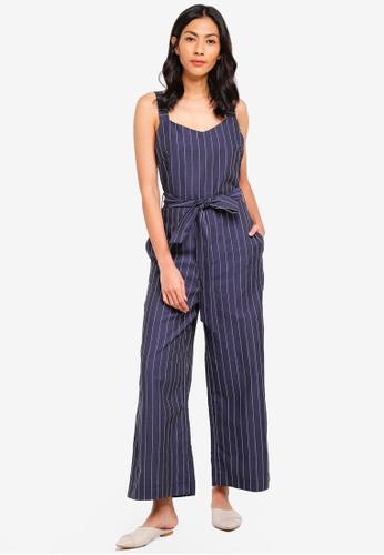71e01e35bdc5 Shop WAREHOUSE Linen Pinstripe Jumpsuit Online on ZALORA Philippines