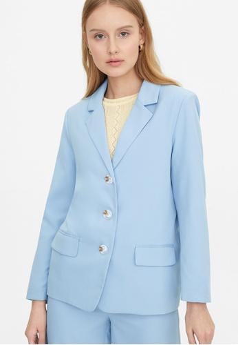 Pomelo blue Triple Button Blazer - Blue BAE83AA536B93BGS_1