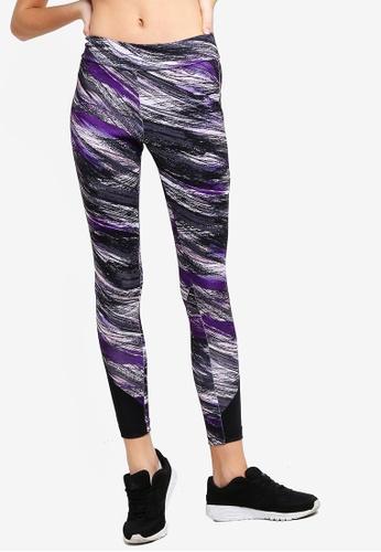 AVIVA black and purple Performance Leggings 247CEAA7E6173CGS_1
