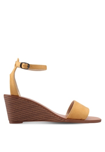 ZALORA yellow Single Strap Ankle Wedges F1347SH0A5F4C7GS_1