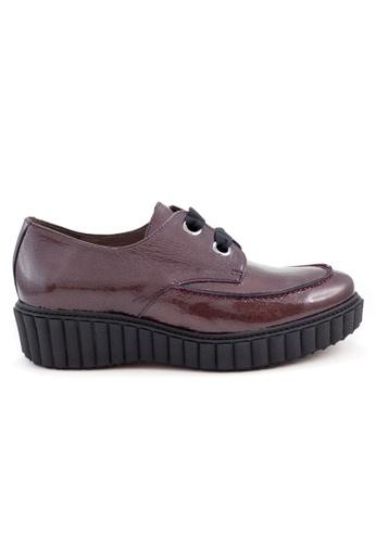 Shu Talk 紅色 舒適型格綁帶漆皮樂福牛皮皮鞋 96A5ESH8828AFCGS_1