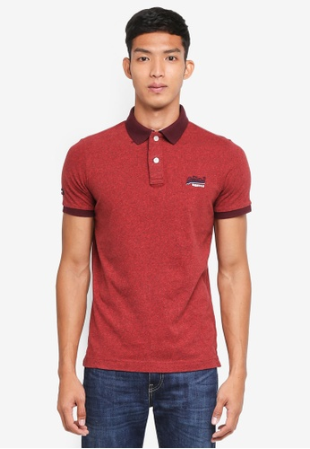 Superdry red Cali Ringer Short Sleeve Polo Shirt 3B78EAA97866A2GS_1