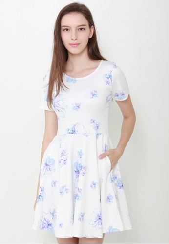 Leline Style white Sweetheart Floral Dress LE802AA17GCWSG_1