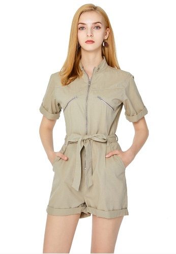 London Rag beige Beige Zipped Up Romper 38DF8AAFA36B11GS_1