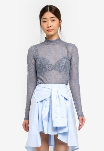 Stylenanda blue Lace Long Sleeve Top 5EB90AAA50F88BGS_1