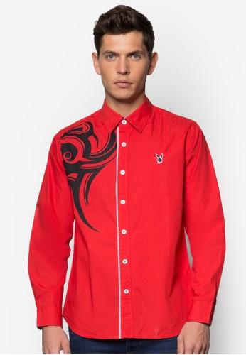 印花長esprit服飾袖襯衫, 服飾, 服飾