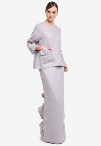 Kree for ZALORA grey Reece Pocket Kurung KR498AA0STGOMY_1
