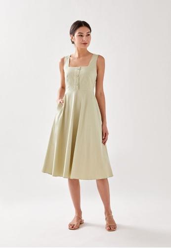Love, Bonito green Roselynn Textured Midi Dress 49EC7AA827AE8EGS_1