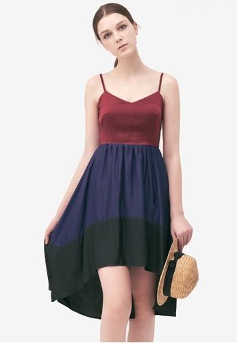 Kodz red Colourblock Waterfall Dress 8FF87AABA78284GS_1