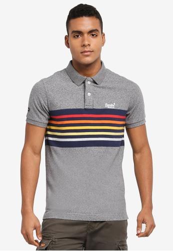 Superdry grey Classic Cali Short Sleeve Banner Polo Shirt 999EFAADBFAF0AGS_1