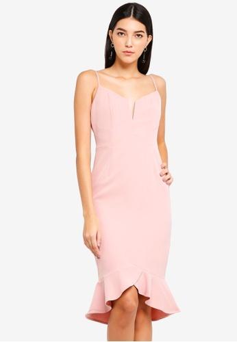 Bardot pink Kristen Peplum Dress 1F313AA0CE4D27GS_1
