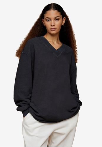 TOPSHOP grey Premium Leisure Charcoal Grey V Neck Sweatshirt DEE75AA9D84890GS_1