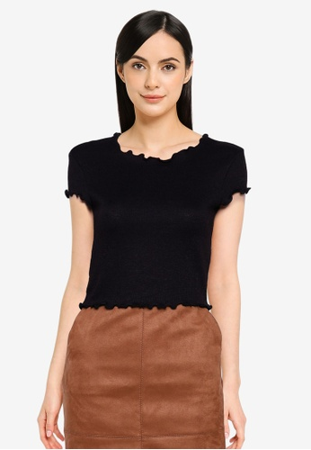 ONLY black Kitty Short Sleeves Short Top EF861AA3A0F8FDGS_1