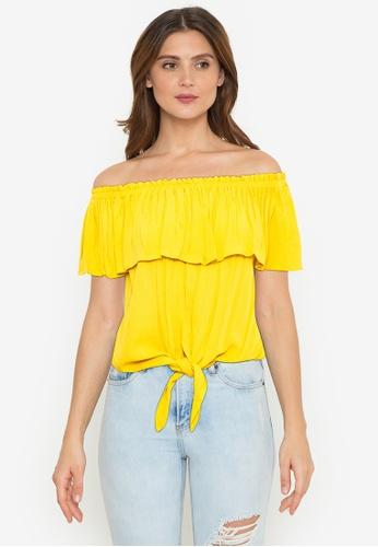 Twenteen yellow Off The Shoulder Textured Rockabilly Top B369BAA5334848GS_1