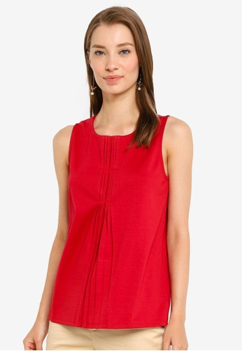 G2000 red Sleeveless Tee With Pleated Neckline Detail 43DE1AACA94C62GS_1