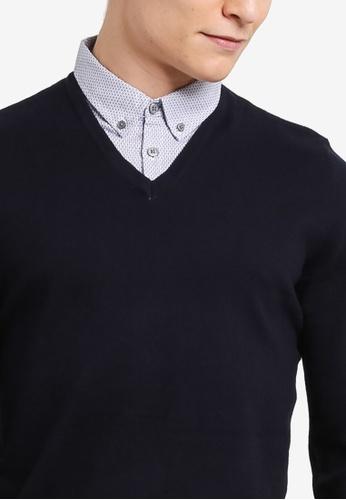 78af4d91f760 Buy Burton Menswear London Navy V-Neck Jumper With Mock Shirt Online |  ZALORA Malaysia