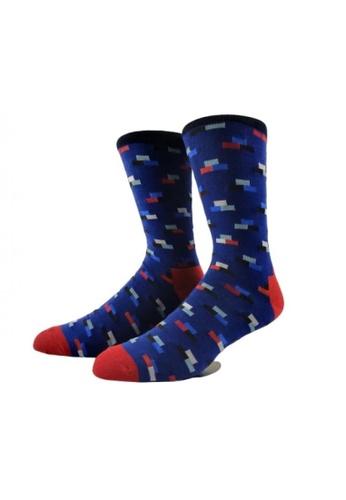 ShoeMafia multi Navy Brick Man Crew Socks D1655AA85D7FCEGS_1