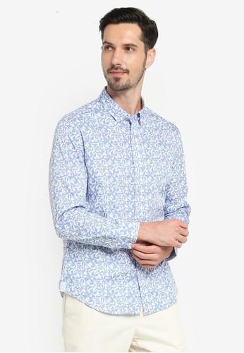G2000 white Geo Print Long Sleeve Shirt 92FD2AA1828AB7GS_1