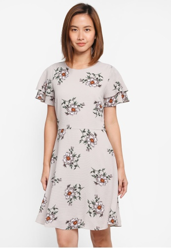 Dorothy Perkins grey Floral Fit & Flare Dress 74A55AA141C105GS_1