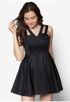 Shoulder Detail Fit And Flare Dress